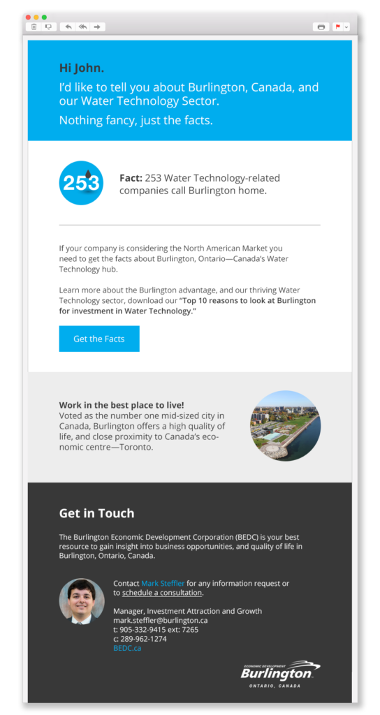 Email design of a City of Burlington Economic Development Marketing Campaign