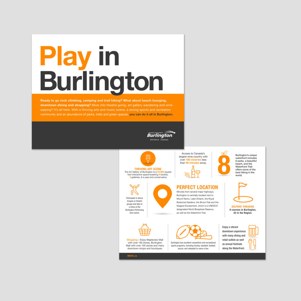 Cover and interior page design of City of Burlington Marketing Collateral