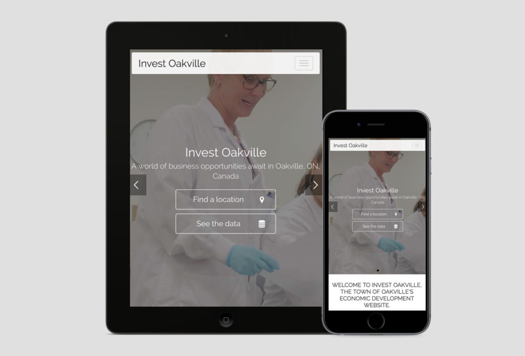 Invest Oakville website design on a tablet and mobile phone
