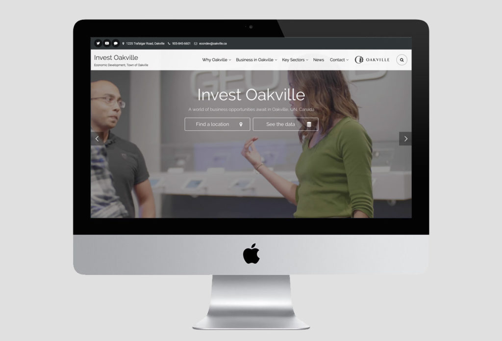 Invest Oakville website design on an iMac